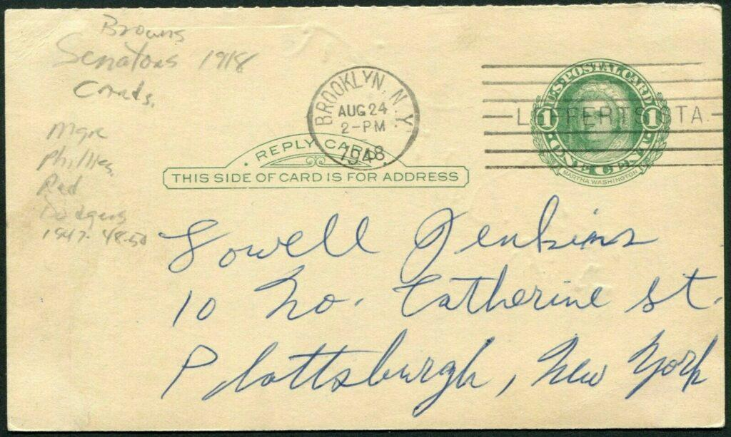 Reverse of card with Burt Shotton's signature - with 8/24/48 Brooklyn postmark