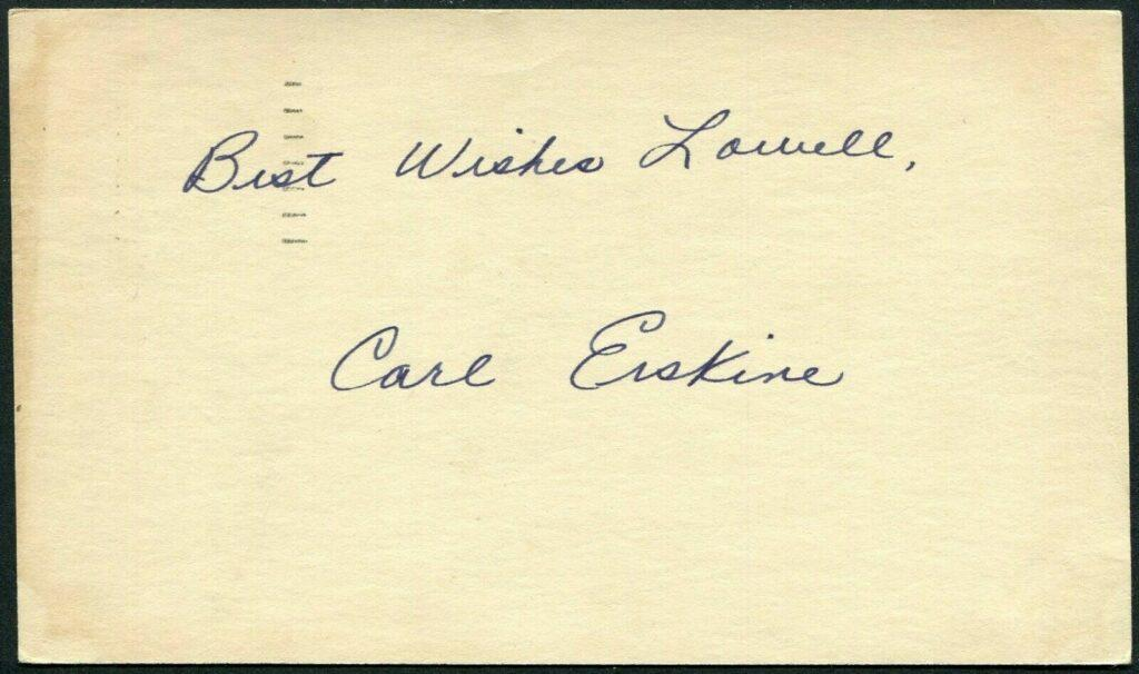 Postcard signed by Carl Erskine in '48 during his first MLB season