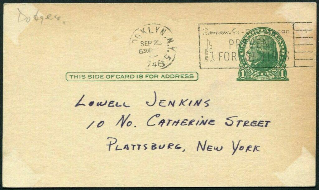 Reverse of Carl Erskine signed postcard with Brooklyn postmark from 9/25/48