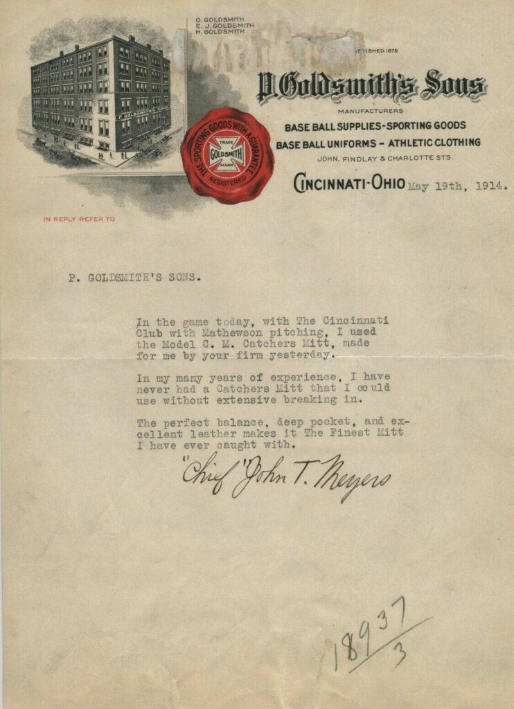 Chief Meyers writes to Goldsmith's Sons after using their mitt to catch Christy Mathewson's 342nd win that tied him for 4th All Time