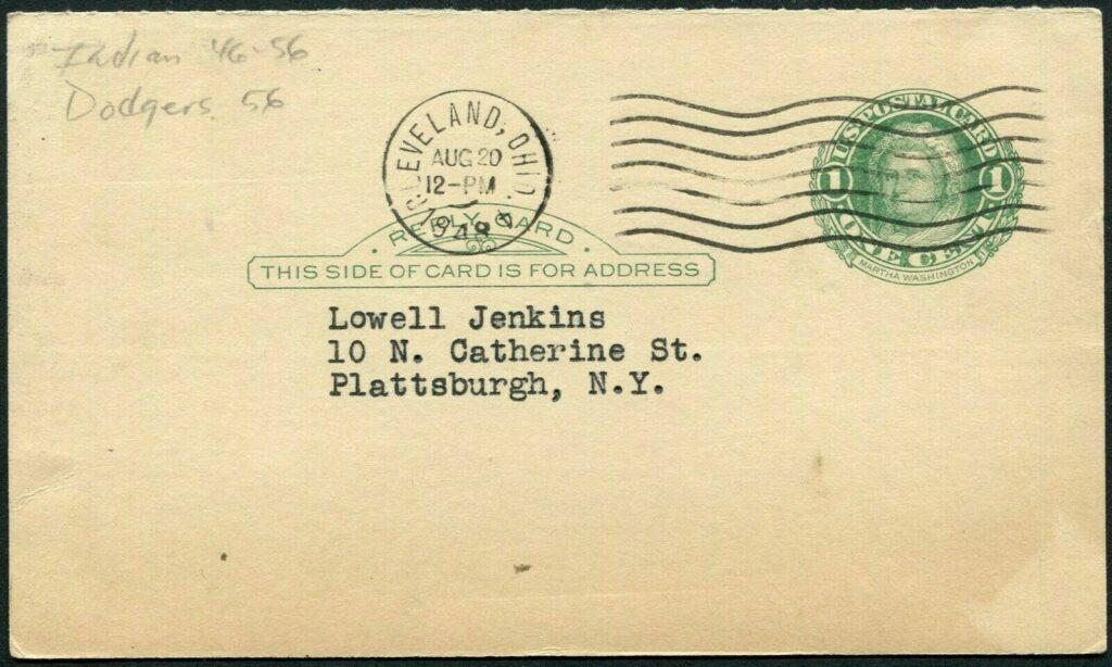 Postmarked side of Dale Mitchell autographed card - sent from Cleveland on August 20, 1948