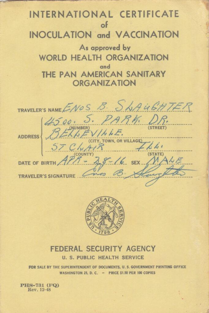 International Certificate of Inoculation and Vaccination for Enos Slaughter