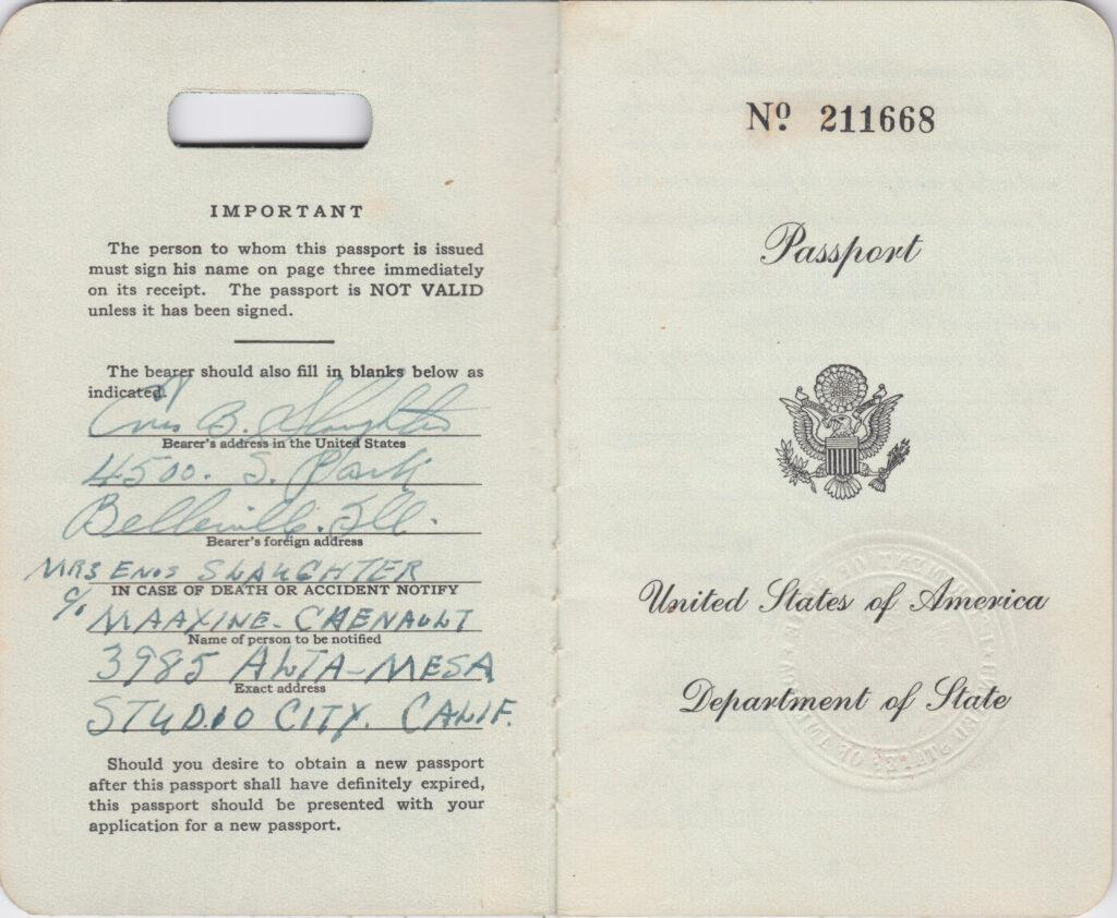 First two pages inside Enos Slaughter's first passport