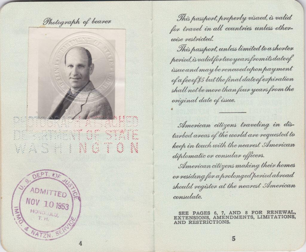 Picture of Enos Slaughter's inside his passport