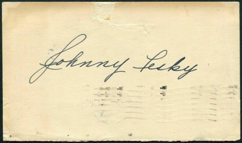 Johnny Pesky signed government postcard from 1948
