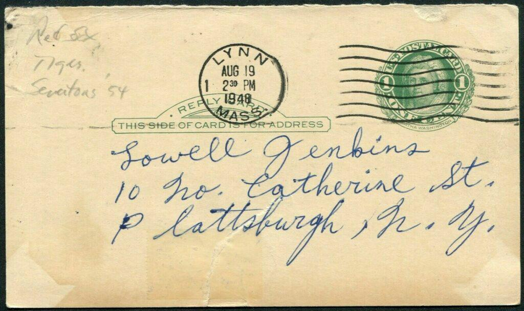 Notice the postmark from 8/18/1948 in Lynn, Massachusetts - the home town of Johnny Pesky's wife