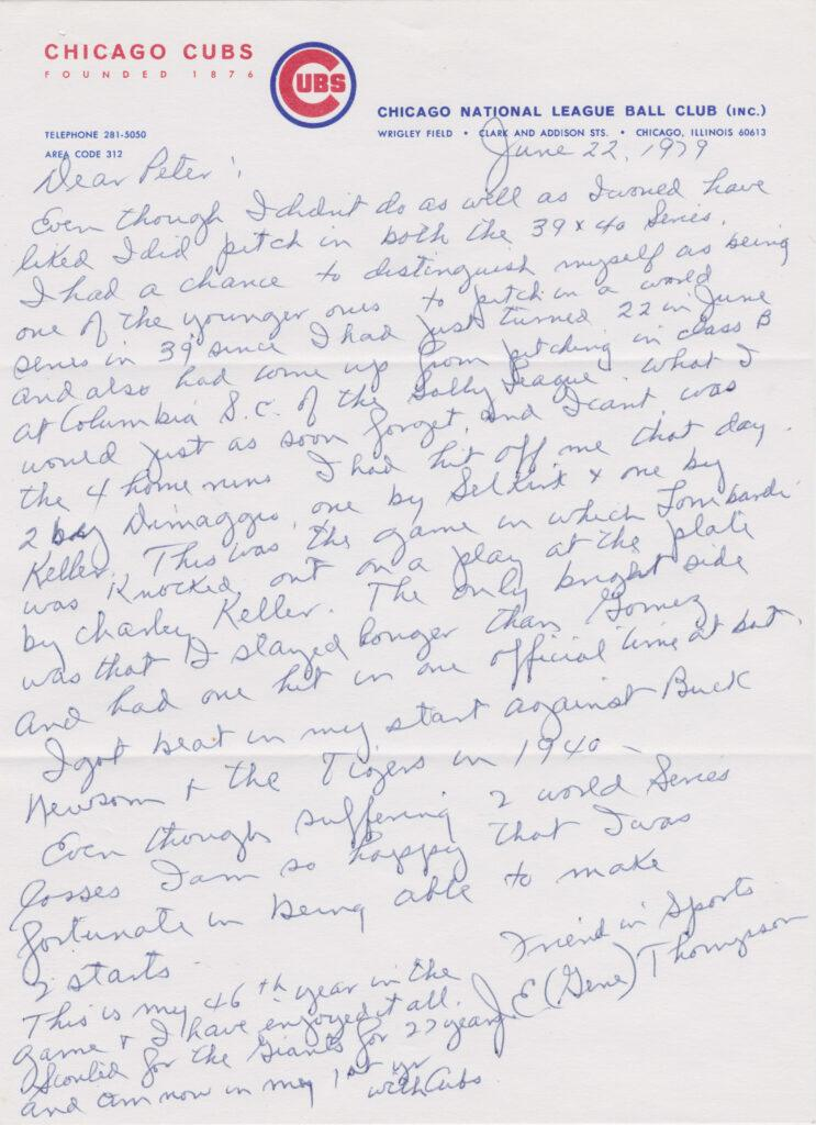 Gene Thompson writes of Joe DiMaggio and the 1939 World Series
