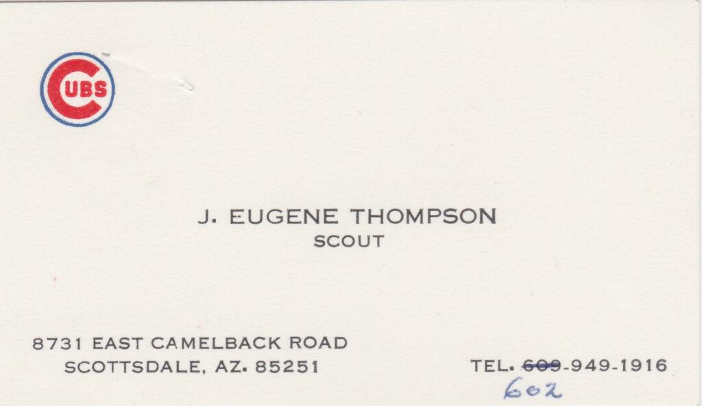 Gene Thompson's business card while scouting for the Chicago Cubs