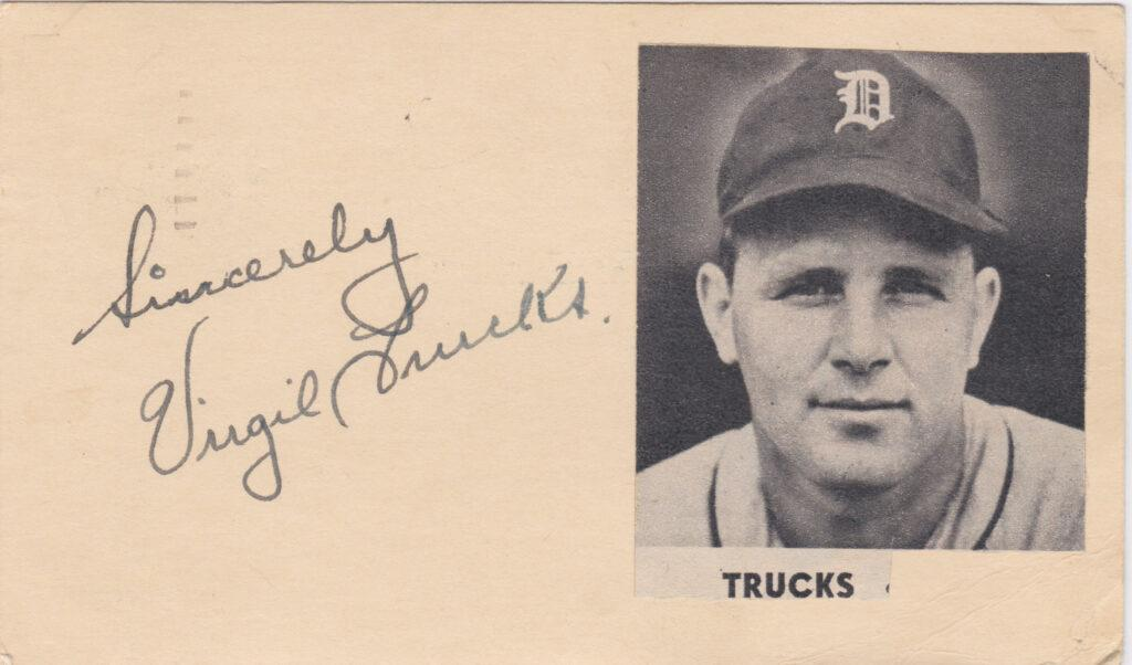 Virgil Trucks government postcard signed in 1949 - his first All Star season