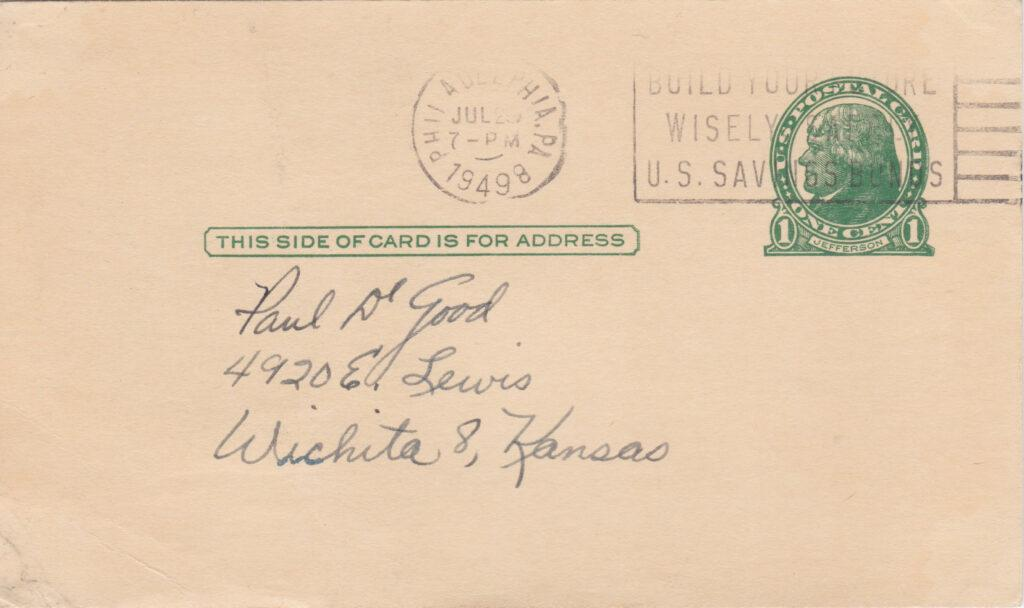 Reverse side of postcard with postmark from Philadelphia on July 25, 1949