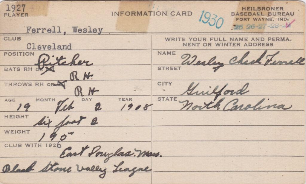 Heilbronner Baseball Bureau information card filled out and signed by Wes Ferrell from 1927, his MLB debut year