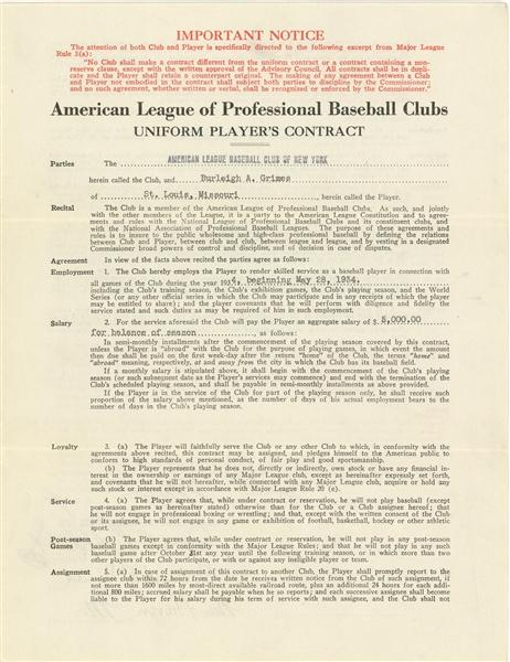 Front page of Burleigh Grimes' 1934 contract as the AL's last legal spitball pitcher