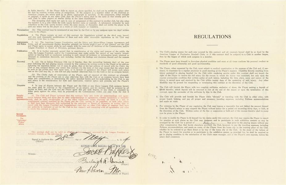 Signature page of Grimes' 1934 Yankee deal as the last AL pitcher to legally throw the spitter