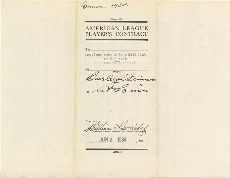 Burleigh Grimes 1934 Yankees contract as the last legal spitballer in American League history