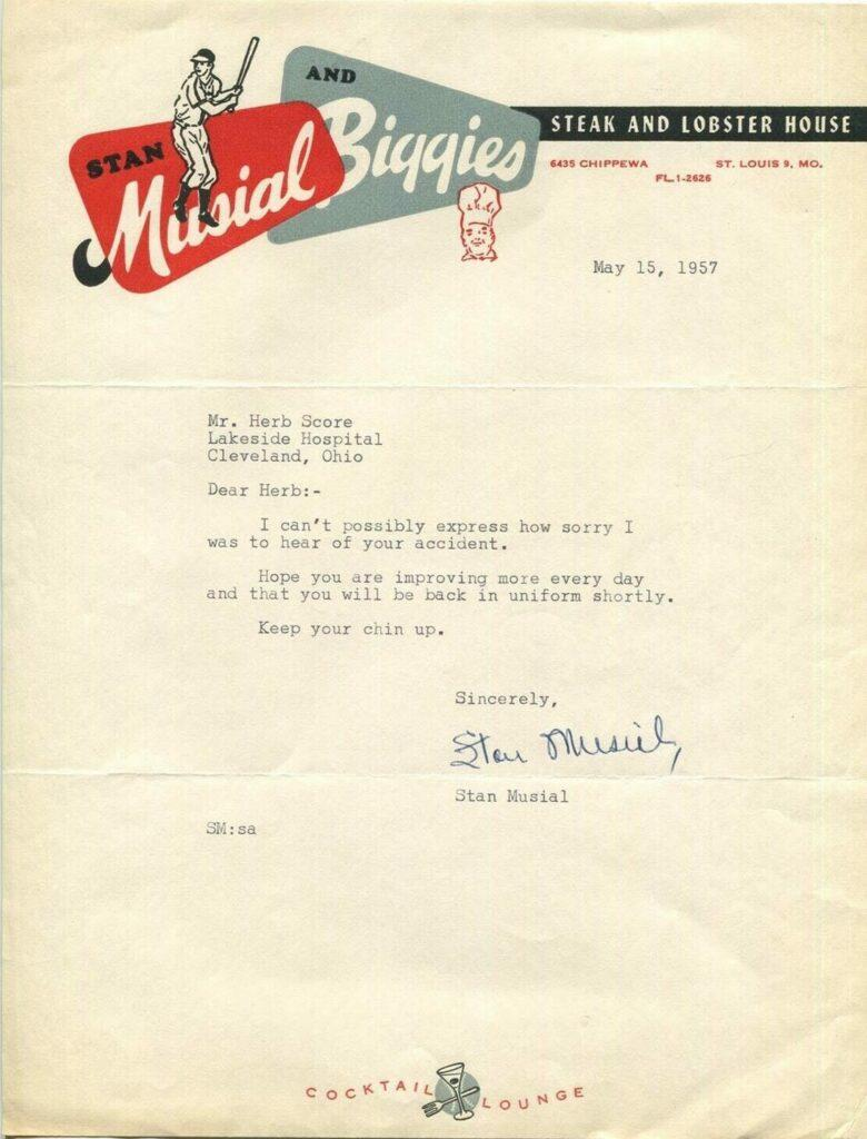 Stan Musial writes a get well letter to Herb Score just eight days after the hurler is hit by the comebacker