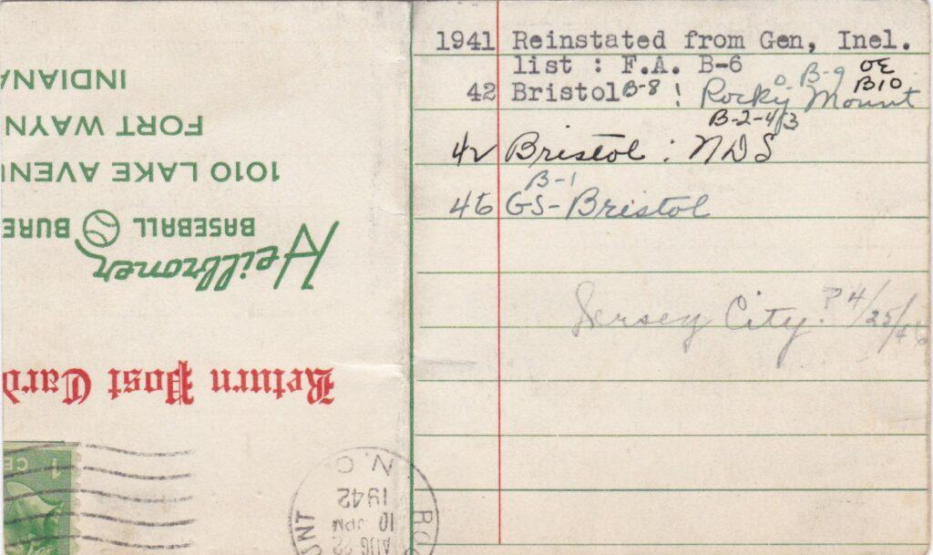 Reverse of Bobby Thomson Heilbroner Baseball Bureau Information Card - Notice the 8/22/1942 postmark