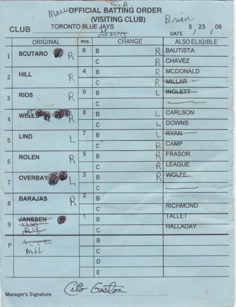Cito Gaston signed lineup cards as manager of the Blue Jays