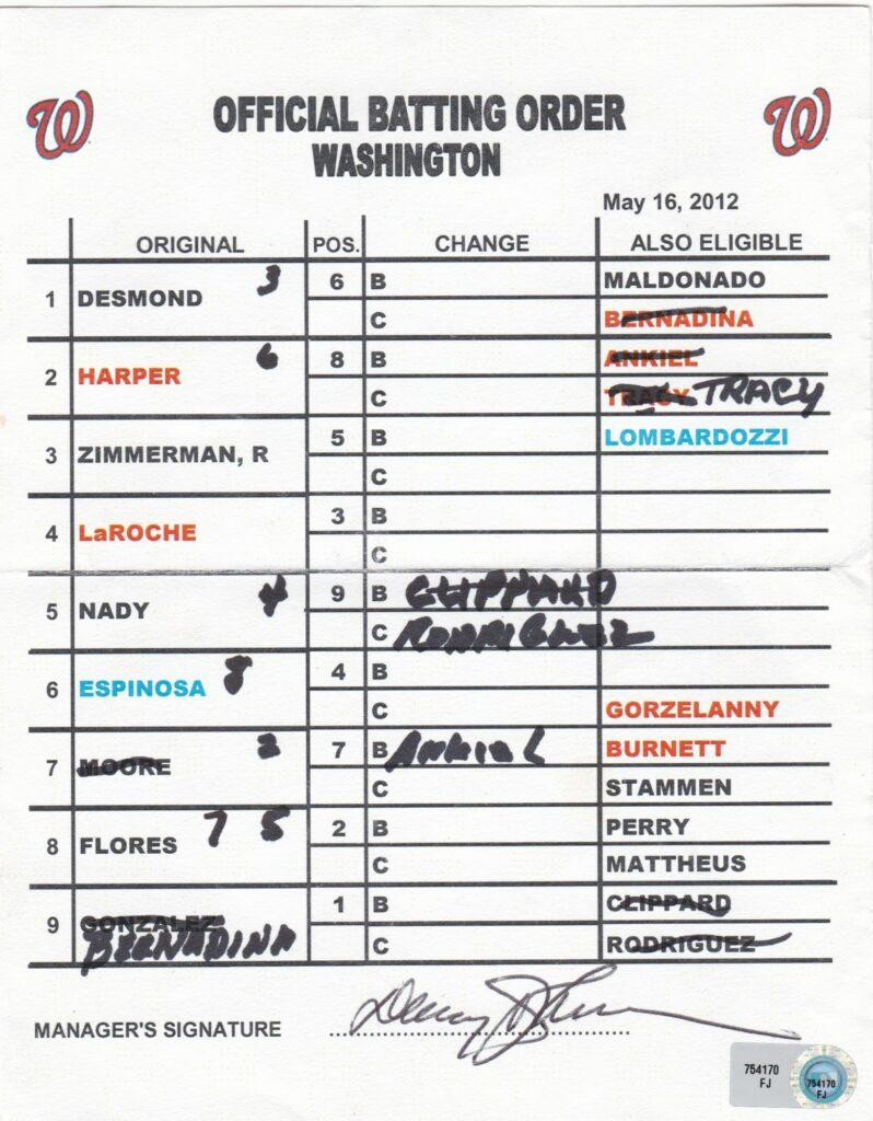 Davey Johnson signed lineup card as manager for Bryce Harper's 1st MLB triple