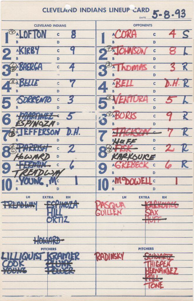 Dugout lineup card from Carlton Fisk's final MLB ejection