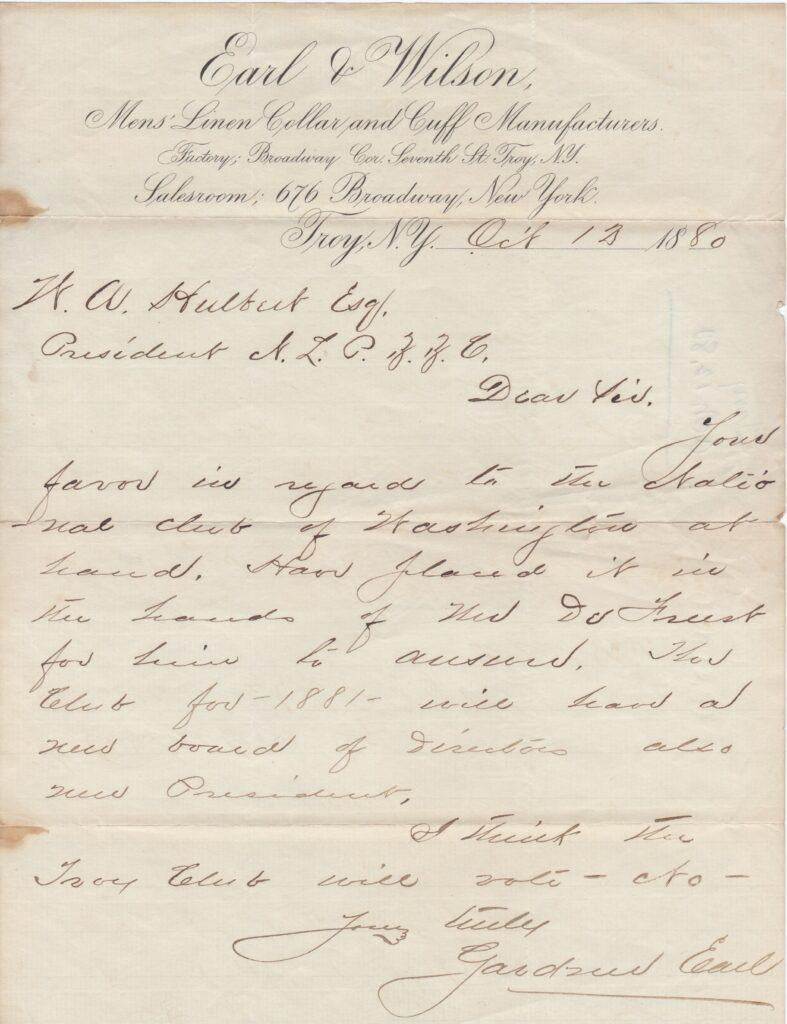 Letter from 1880 signed by Gardner Earl as owner of Dan Brouthers' 1st MLB team