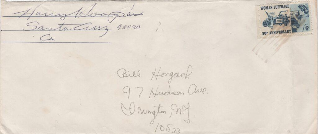 Envelope containing Harry Hooper's responses - he signed the return address portion