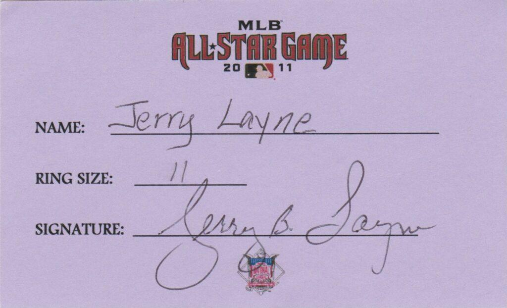 Jerry Lane umped home plate when Barry Bonds broke the single-season homer mark; here Layne signs for his 2011 All Star ring
