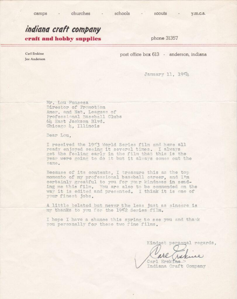 In 1953 Carl Erskine set the World Series record for strikeouts in a game - here's a letter he wrote about it in '54