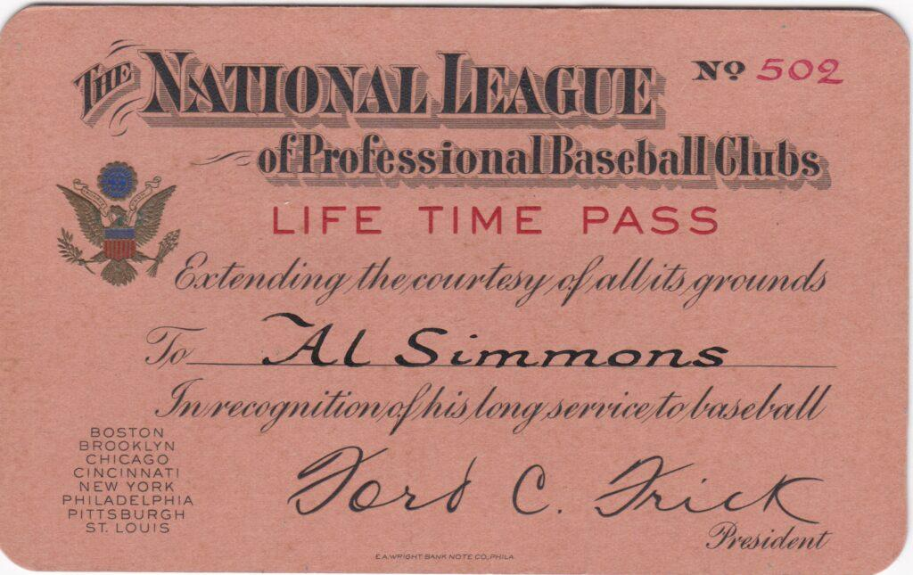 Al Simmons finished with 2,927 hits, 1,828 RBI and a .334 average; here's his paper lifetime pass