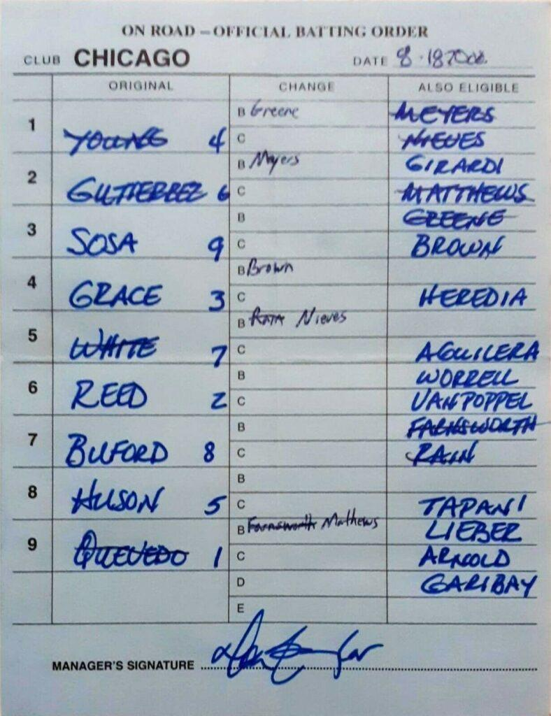 Sammy Sosa hit two HRs on 8/18/2000 to tie Carlton Fisk on the all-time HR list; here's manager Don Baylor's lineup card