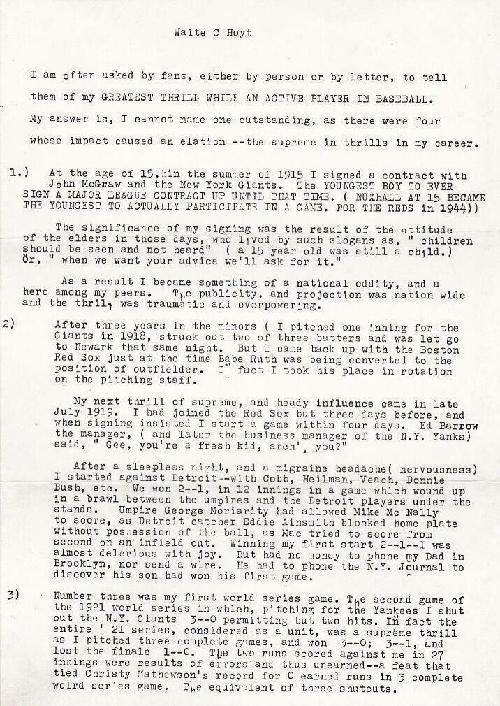 Waite Hoyt outlines his greatest thrills in this two-page letter