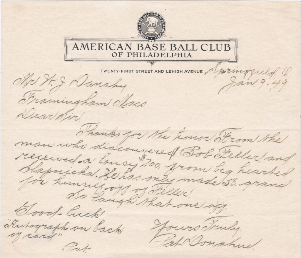 Former MLB catcher Pat Donahue discovered 16-year old Bob Feller in a semi-pro game