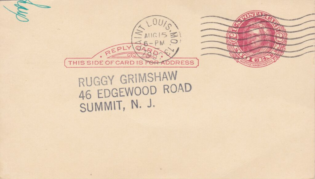 This side of the card reveals a postmark detailing the time and place from which it was mailed