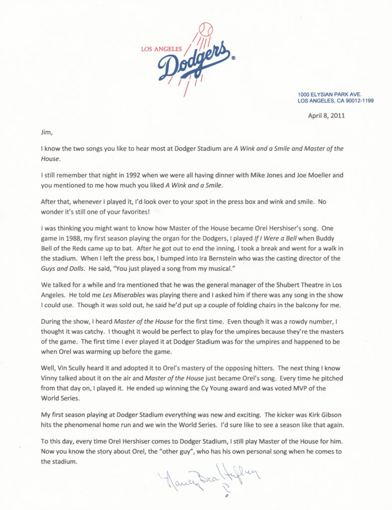 Nancy Bea Hefley tells the story of how Orel Hershiser became the Master of the House