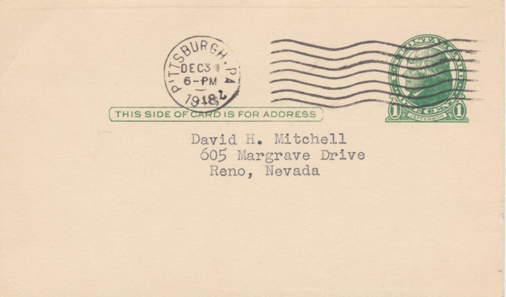 Deacon Phillippe mailed this from Pittsburgh, Pennsylvania on December 31st, 1948