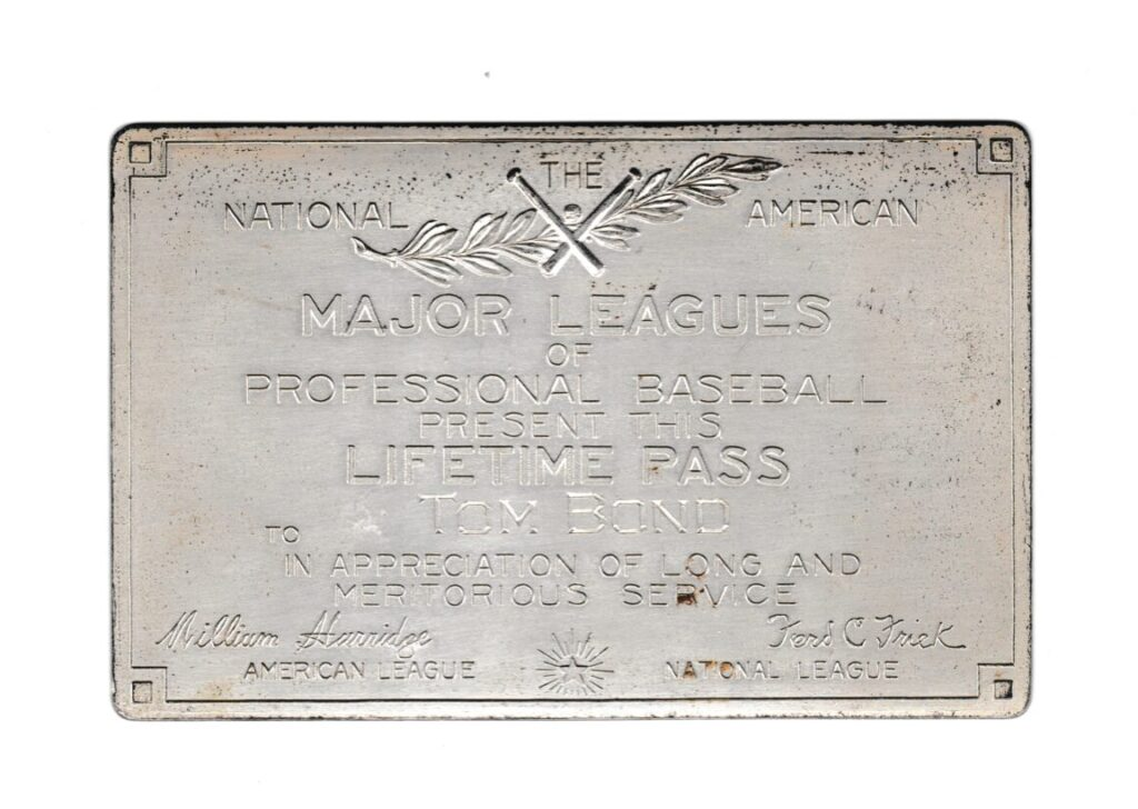 Tommy Bond pitched in the inaugural National League season of 1876; here's his pass
