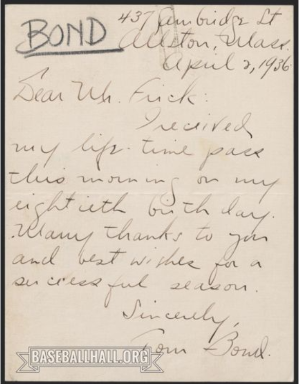 In the Hall's collection is this letter written by Tommy Bond thanking Ford Frick for his lifetime pass