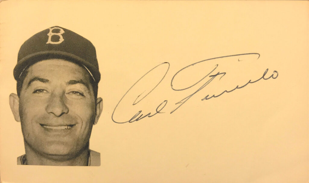 Carl Furillo played on the Dodgers' only championship team in Brooklyn & their first in LA