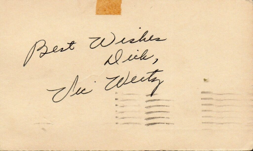 Vic Wertz signed this card on July 27, 1951 before a game against Connie Mack's Philadelphia Athletics