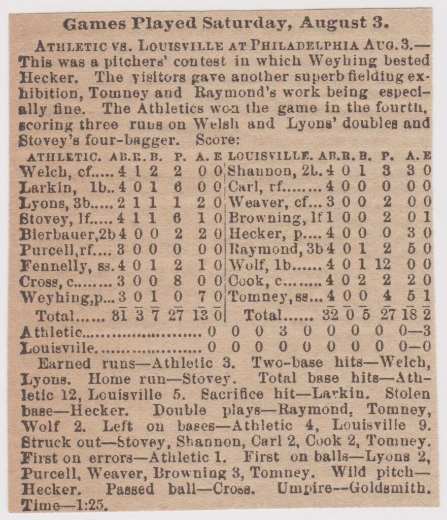 Weyhing had four straight 30-win seasons starting in 1889